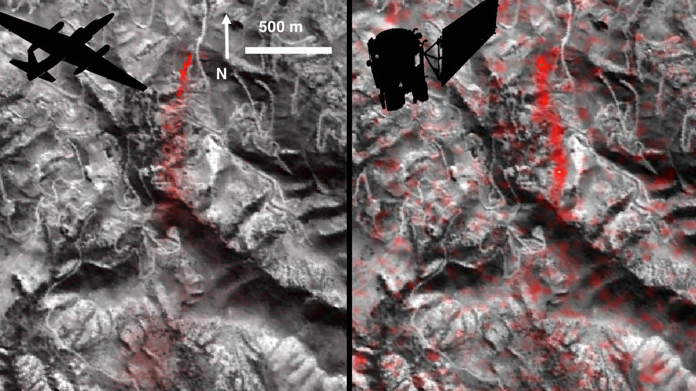 Comparison of detected methane plumes over Aliso Canyon, California, acquired 11 days apart in Jan. 2016 by: (left) NASA's AVIRIS instrument on a NASA ER-2 aircraft at 4.1 miles (6.6 kilometers) altitude and (right) by the Hyperion instrument on NASA's Earth Observing-1 satellite in low-Earth orbit. Credits: NASA-JPL/Caltech/GSFC