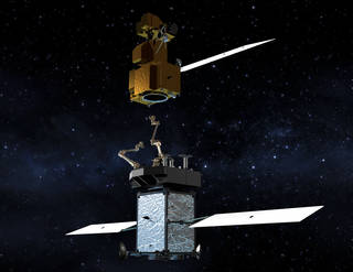 The Restore-L servicer extends its robotic arm to grasp and refuel a client satellite on orbit. Artist's rendering. Credits: NASA