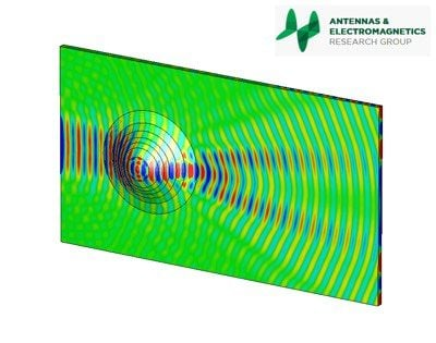 The picture shows the cloak not in use (a uniform dielectric permittivity distribution along the surface): the presence of the object along the path of the traveling wave, drastically changes its electric field configuration.  Credit: QMUL