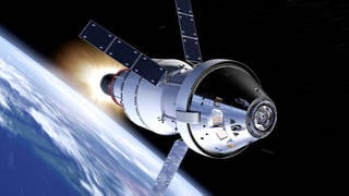 During Exploration Mission-1, NASA's Orion spacecraft will venture 40,000 miles beyond the orbit of the moon, farther than any spacecraft built for humans has ever traveled. Credits: NASA
