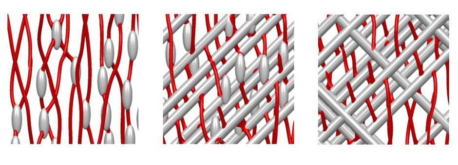 In a new study, researchers at Argonne have developed a rational approach to optimizing the arrangement of defects in commercial high-temperature superconducting wires to enhance their current-carrying capacity. This snapshot of a simulation shows the defects in the material, here in gray, and pinning vortices, in red. The pinning enhances the superconducting behavior of the material at high magnetic fields.