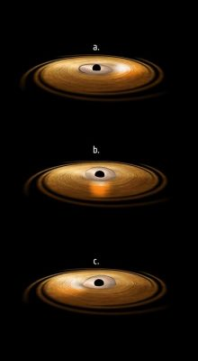 Image of accretion disc surrounding a black hole. Credit: ESA/ATG medialab