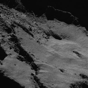 Close-up view of the comet
