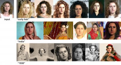 "A new personalized image search engine synthesizes versions of an input photo (left) with internet queries such as ""curly hair"" (top row), in ""India"" (2nd row), and in ""1930"" (3rd row).Ira Kemelmacher-Shlizerman, University of Washington"