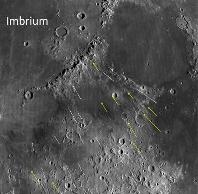 Grooves and gashes associated with the Imbrium Basin on the Moon have long been puzzling. New research shows how some of these features were formed and uses them to estimate the size of the Imbrium impactor. The study suggests it was big enough to be considered a protoplanet. Credit: NASA/Northeast Planetary Data Center/Brown University