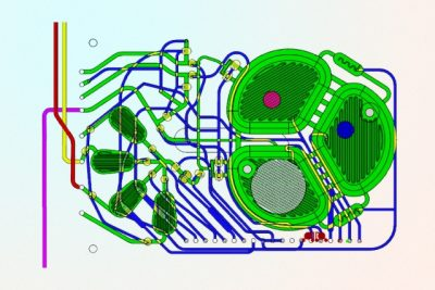 A new, portable production system is designed to manufacture a range of biopharmaceuticals on demand. The principal component of the microbioreactor is a plastic chip with microfluidic circuits (green), optical sensors (red and blue circles) for monitoring oxygen and acidity, and a filter to retain the cells while the therapeutic protein is extracted (white circle). Image courtesy of the researchers
