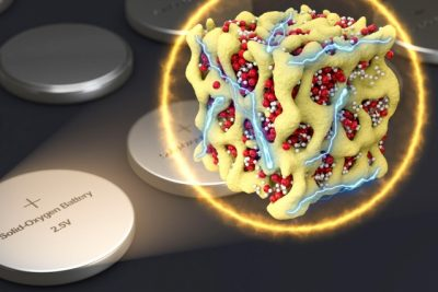 In a new concept for battery cathodes, nanometer-scale particles made of lithium and oxygen compounds (depicted in red and white) are embedded in a sponge-like lattice (yellow) of cobalt oxide, which keeps them stable. The researchers propose that the material could be packaged in batteries that are very similar to conventional sealed batteries yet provide much more energy for their weight. Image courtesy of the researchers