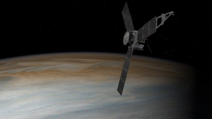 Five Years Post-Launch, Juno Is at a Turning Point This artist's concept depicts the Juno spacecraft above Jupiter. This diagram shows the Juno spacecraft's orbits, including its two long, stretched-out capture orbits. This artist's concept depicts the Juno spacecraft above Jupiter. The spacecraft will next fly by the planet on Aug. 27, in the mission's first up-close science pass. Credit: NASA/JPL-Caltech