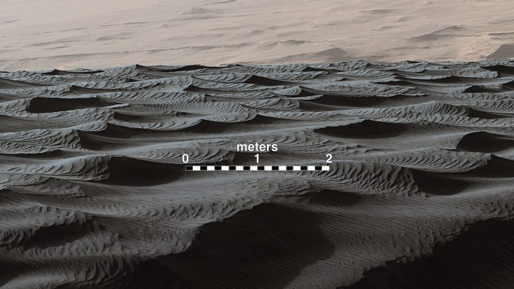 Two sizes of ripples are evident in this Dec. 13, 2015, view of a top of a Martian sand dune, from NASA's Curiosity Mars rover. Sand dunes and the smaller type of ripples also exist on Earth.