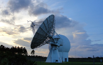 The University of Miami's 20-meter antenna at the Richmond Satellite Operations Center, which was used to communicate with the GOES-3. Image credit: Jen Fritz, University of Miami