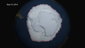 A satellite image of sea ice circling the Antarctic continent in September 2014, the Southern Hemisphere winter. Image credit: NASA