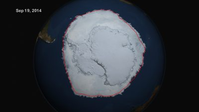 On Sept. 19, 2014, the five-day average of Antarctic sea ice extent exceeded 20 million square kilometers (about 7.7 million square miles) for the first time since 1979, according to the National Snow and Ice Data Center. The red line shows the average maximum extent from 1979-2014. Image courtesy NASA's Scientific Visualization Studio/Cindy Starr