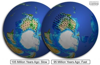 Australia lurching forward 95 million years ago after slowly separating from Antarctica for tens of millions of years before. Credit: Sascha Brune.