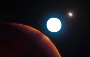 This artist's impression shows a view of the triple-star system HD 131399 from close to the giant planet orbiting in the system. The planet is known as HD 131399Ab and appears at the lower left of the picture. Located about 320 light-years from Earth in the constellation of Centaurus (The Centaur), HD 131399Ab is about 16 million years old, making it also one of the youngest exoplanets discovered to date, and one of very few directly imaged planets. With a temperature of around 580 degrees Celsius and an estimated mass of four Jupiter masses, it is also one of the coldest and least massive directly-imaged exoplanets. Image credit: ESO/L. Calçada