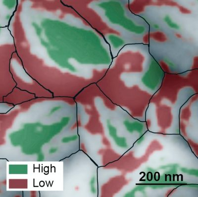 This atomic force microscopy image of the grainy surface of a perovskite solar cell reveals a new path to much greater efficiency. Individual grains are outlined in black, low-performing facets are red, and high-performing facets are green. A big jump in efficiency could possibly be obtained if the material can be grown so that more high-performing facets develop. Image credit: Berkeley Lab