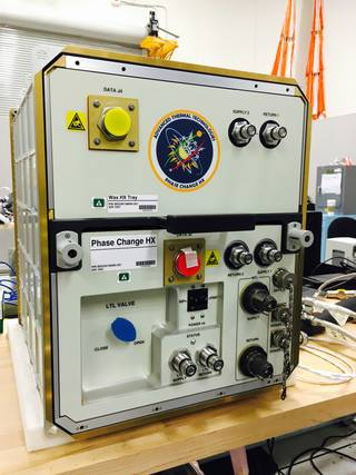 Phase Change Heat Exchanger Demonstration Facility for use on the International Space Station will test use of wax to control temperatures for possible use on the Orion spacecraft. Credits: NASA/Rubik Sheth