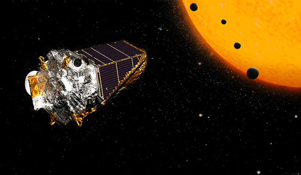 """Artist concept. A crop of more than 100 planets, discovered by NASA's Kepler Space Telescope, includes four in Earth's size-range orbiting a single dwarf star. Two of these planets are too hot to support life as we know it, but two are in the star's """"habitable"""" zone, where liquid water could exist on the surface. These small, rocky worlds are far closer to their star than Mercury is to our sun. But because the star is smaller and cooler than ours, its habitable zone is much closer. One of the two planets in the habitable zone, K2-72c, has a """"year"""" about 15 Earth-days long—the time it takes to complete one orbit. This closer planet is likely about 10% warmer than Earth. On the second, K2-72e, a year lasts 24 Earth days, this slightly more distant planet would be about 6% colder than Earth. Credits: NASA/JPL"""