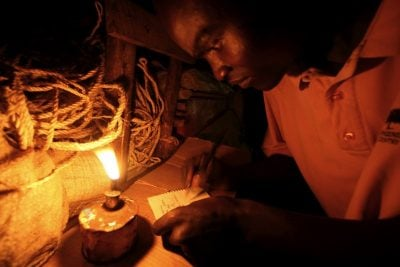 Fuel-based lighting provides lighting at many light markets, such as this one in Kenya.
