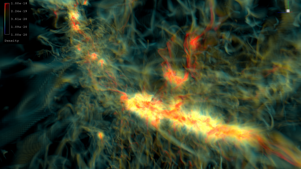 This simulation captures a mix of radiation, magnetic fields, gravity and other physical phenomena. It was produced with UC Berkeley's code and run on the Pleiades supercomputer at the NASA Advanced Supercomputing facility at NASA's Ames Research Center. Credits: NASA Ames/David Ellsworth/Tim Sandstrom