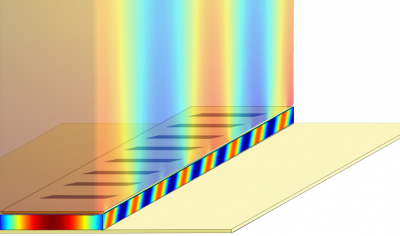 In this illustration of a terahertz plasmonic laser, the laser cavity is enclosed between two metal films (with periodic slits on the top film). The colors represent coherent SPP light waves. One wave is confined inside the 10-micron-thick cavity. The other, with a large spatial extent, is located on top of the cavity.