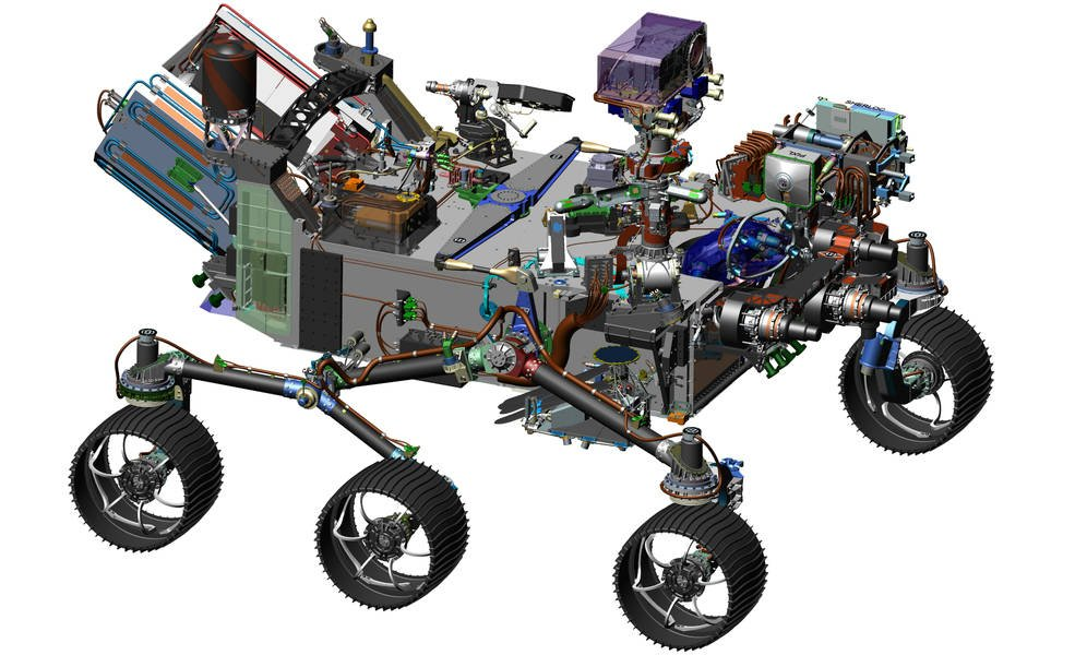 This image is from computer-assisted-design work on the Mars 2020 rover. The design leverages many successful features of NASA's Curiosity rover, which landed on Mars in 2012, but also adds new science instruments and a sampling system to carry out new goals for the 2020 mission. Credits: NASA/JPL-Caltech