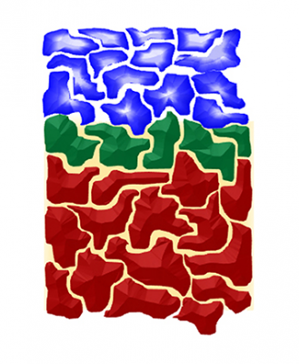 This magneto-ionic thin film, made primarily of aluminum oxide (red), gadolinium oxide (green) and cobalt (blue), allows oxygen ions to travel up and down through spaces between the layers when pushed by an electric field. Controlling the ions' movement could be useful in computer memory storage and a host of other applications. The depth of the film depicted in this figure is on the order of 10 nanometers. Image credit: D. Gilbert/NIST