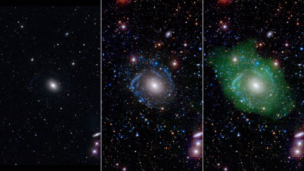 At left, in optical light, UGC 1382 appears to be a simple elliptical galaxy. But spiral arms emerged when astronomers incorporated ultraviolet and deep optical data (middle). Combining that with a view of low-density hydrogen gas (shown in green at right), scientists discovered that UGC 1382 is gigantic. Credits: NASA/JPL/Caltech/SDSS/NRAO/L. Hagen and M. Seibert