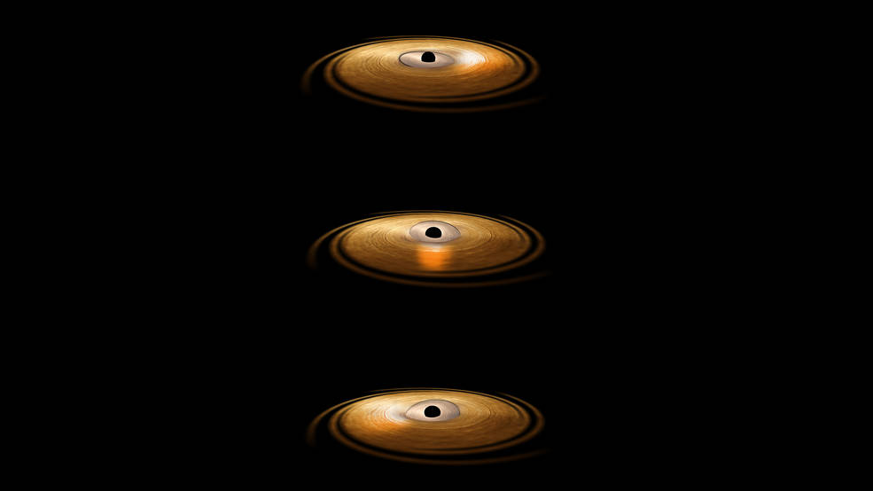 """This artist's impression depicts the accretion disc surrounding a black hole, in which the inner region of the disc precesses. """"Precession"""" means that the orbit of material surrounding the black hole changes orientation around the central object. Credits: ESA/ATG medialab"""