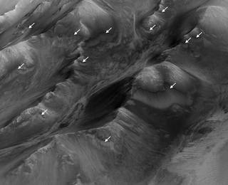 """The white arrows indicate locations in this scene where numerous seasonal dark streaks, called """"recurring slope lineae,"""" have been identified in the Coprates Montes area of Mars' Valles Marineris by repeated observations from orbit. Credits: NASA/JPL-Caltech/Univ. of Arizona Full image and caption"""