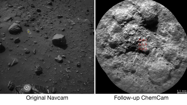 NASA's Curiosity Mars rover autonomously selects some targets for the laser and telescopic camera of its ChemCam instrument. For example, on-board software analyzed the Navcam image at left, chose the target indicated with a yellow dot, and pointed ChemCam for laser shots and the image at right. Credit: NASA/JPL-Caltech/LANL/CNES/IRAP/LPGNantes/CNRS/IAS