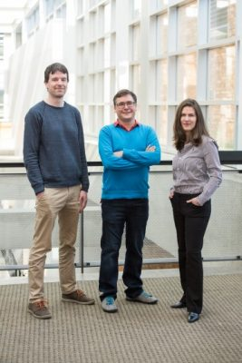 Lead researchers on the UW/Microsoft DNA data storage project include (left to right) Georg Seelig, UW associate professor of electrical engineering and of computer science and engineering; Luis Ceze, the Torode Family Career Development Professor of Computer Science & Engineering; and Microsoft researcher Karin Strauss. Image credit: Tara Brown Photography/ University of Washington