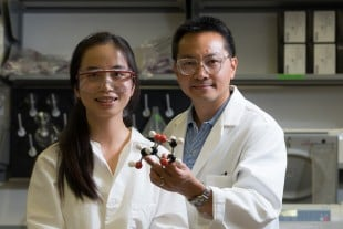 Rice University's Li Chen (left) and Michael Wong and colleagues in Dalian, China, have discovered a new way to make extremely pure levoglucosan, a rare sugar compound that drug makers and synthetic chemists can use to build larger molecules. Image credit: Jeff Fitlow/Rice University