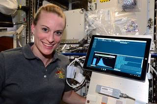 NASA Astronaut Kate Rubins sequenced DNA in space for the first time ever for the Biomolecule Sequencer investigation, using the MinION sequencing device. Credits: NASA