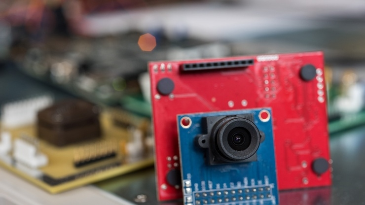 Researchers at Georgia Tech's School of Electrical and Computer Engineering developed a low-power camera capable of recognizing gestures. Image credit: Rob Felt, Georgia Tech
