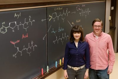 Chemists led by University of Illinois professor M. Christina White and graduate student Thomas Osberger found that two small-molecule iron catalysts can oxidize chiral amino acids and peptides to an array of unnatural forms, giving researchers more options for developing drug candidates. Photo courtesy of M. Christina White