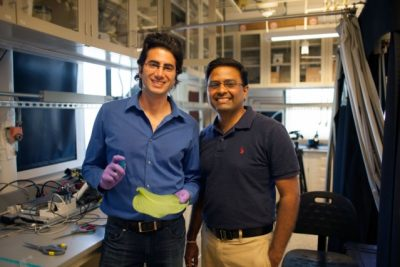 A team of researchers, including graduate student Maher Damak (left) and associate professor of mechanical engineering Kripa K. Varanasi, have found a way to drastically cut down on the amount of pesticide liquid that bounces off plants. Photo credit: Melanie Gonick