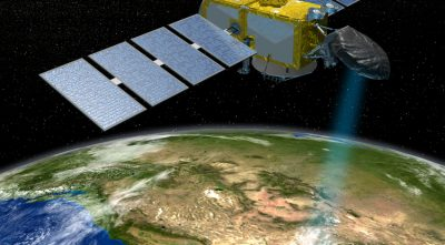 The Jason series of U.S./European satellites can measure the height of the ocean surface. Image credit: NASA/JPL-Caltech