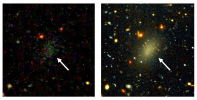 The image on the left is a wide view of the galaxy Dragonfly 44, taken with the Gemini North telescope using the Gemini Multi-Object Spectrograph (GMOS). The close-up on the right reveals the large, elongated galaxy, and the halo of spherical cluster of stars around the galaxy's core, similar to the halo that surrounds the Milky Way. Images by Pieter van Dokkum, Roberto Abraham, Gemini Observatory/AURA