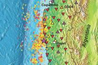 A network of broadband seismometers (indicated by triangles) is tracking seismic activity (indicated by circles) in the area of Illapel, Chile