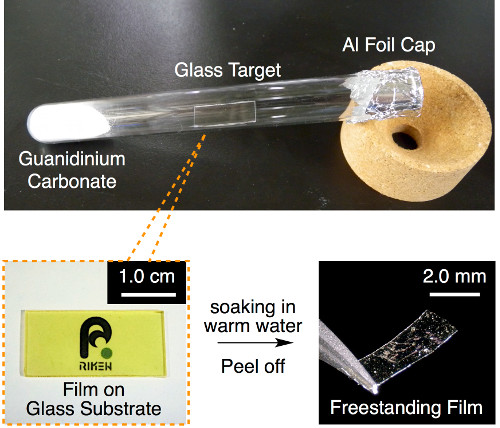Synthesizing process of the curious film, which can jump reacting to tiny changes in ambient humidity. Image credit: riken.jp.