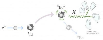 A schematic description of the experimental anomaly that Tanedo and his colleagues have investigated. Excited beryllium-8 nuclei can decay into their ground state while emitting electron--positron pairs. The results of the experiment suggest the presence of a new force particle, here labelled as X.