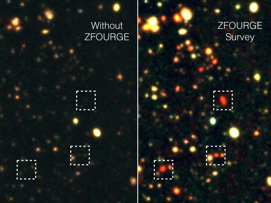 Caption: A movie version of this comparison between optical wavelengths and ZFOURGE is available here: https://www.youtube.com/watch?v=P0znpWX9_GY. Both are courtesy of Texas A&M University.