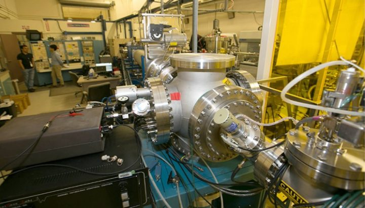 Lawrence Livermore scientists used LLNL's 4-mega-electronvolt (Mv) accelerator facility to probe radiation defects in nuclear materials. Photo by Julie Russell/LLNL.