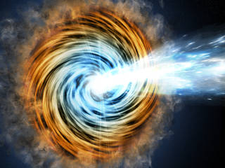 Black-hole-powered galaxies called blazars are the most common sources detected by NASA's Fermi Gamma-ray Space Telescope. As matter falls toward the supermassive black hole at the galaxy's center, some of it is accelerated outward at nearly the speed of light along jets pointed in opposite directions. When one of the jets happens to be aimed in the direction of Earth, as illustrated here, the galaxy appears especially bright and is classified as a blazar. Credits: M. Weiss/CfA