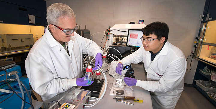 Chemists Miomir Vukmirovic and Zhixiu Liang assembling the apparatus for their innovative fuel cell manufacturing process.