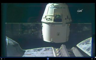 This image, captured from NASA Television's live coverage, shows SpaceX's Dragon spacecraft departing the International Space Station at 6:10 am EDT Friday, Aug. 26, 2016, after successfully delivering almost 5,000 pounds of supplies and scientific cargo on its ninth resupply mission to the orbiting laboratory. Credits: NASA Television