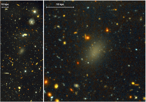 The dark galaxy Dragonfly 44. The image on the left is a wide view of the galaxy taken with the Gemini North telescope using the Gemini Multi-Object Spectrograph (GMOS) as part of a Fast Turnaround program. The close-up on the right is from the same very deep image, revealing the large, elongated galaxy, and halo of spherical clusters of stars around the galaxy's core, similar to the halo that surrounds our Milky Way Galaxy. Dragonfly 44 is very faint for its mass, and consists almost entirely of Dark Matter. Image Credit: Pieter van Dokkum, Roberto Abraham, Gemini Observatory/AURA.