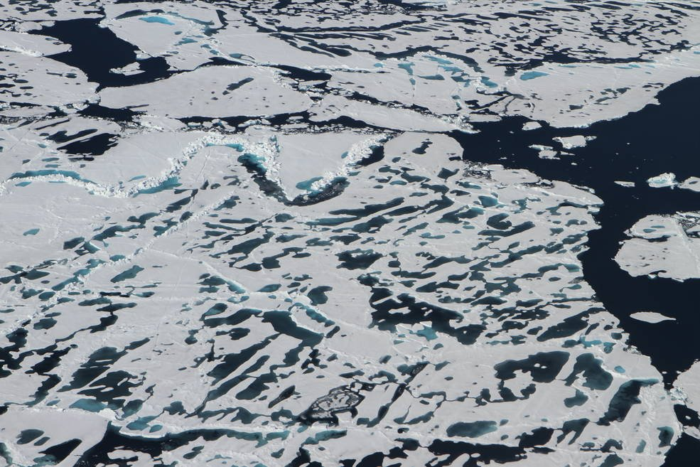Arctic sea ice has varied terrain in the summer months, as ridges and melt ponds form and floes break apart. A new NASA satellite called ICESat-2, launching in 2018, will measure the height of sea ice year-round. Credits: NASA/Kate Ramsayer