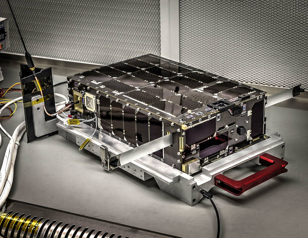 Dellingr's exterior is lined with solar panels. Slighty larger than a cereal box, Dellingr is a six-unit, or 6U, CubeSat – indicating its volume is approximately six liters. Credits: NASA's Goddard Space Flight Center/Bill Hrybyk