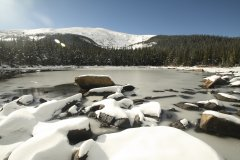 A snow-covered landscape in Colorado's Rocky Mountains. Photo: Taylor Winchell / University of Colorado Boulder.
